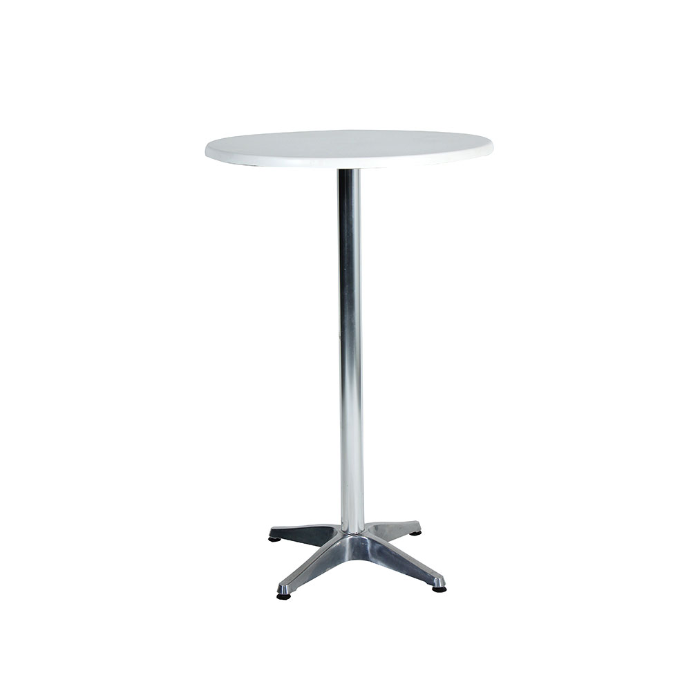 Cocktail table round white unik furniture hire for Cocktail tables hire durban