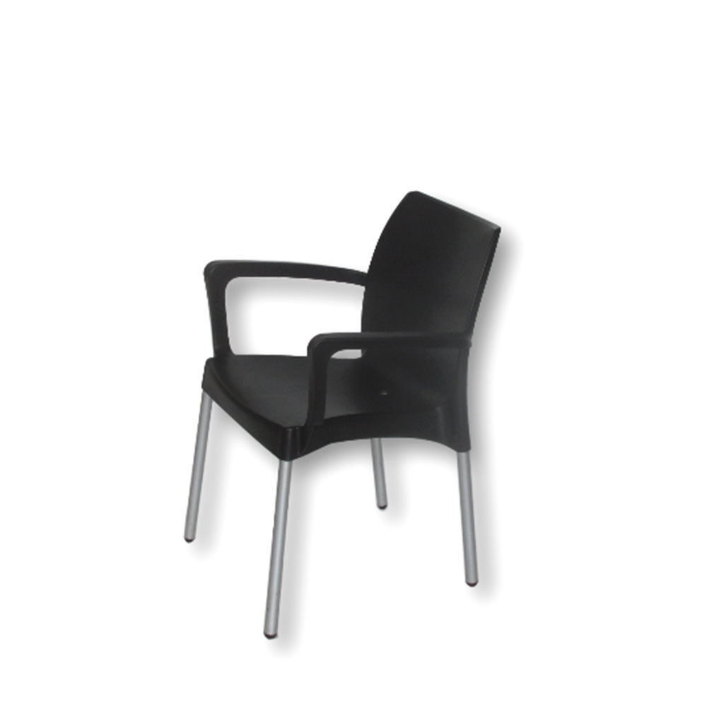 star chair  with arms  black  unik furniture hire durban  - starchairwitharmsblack