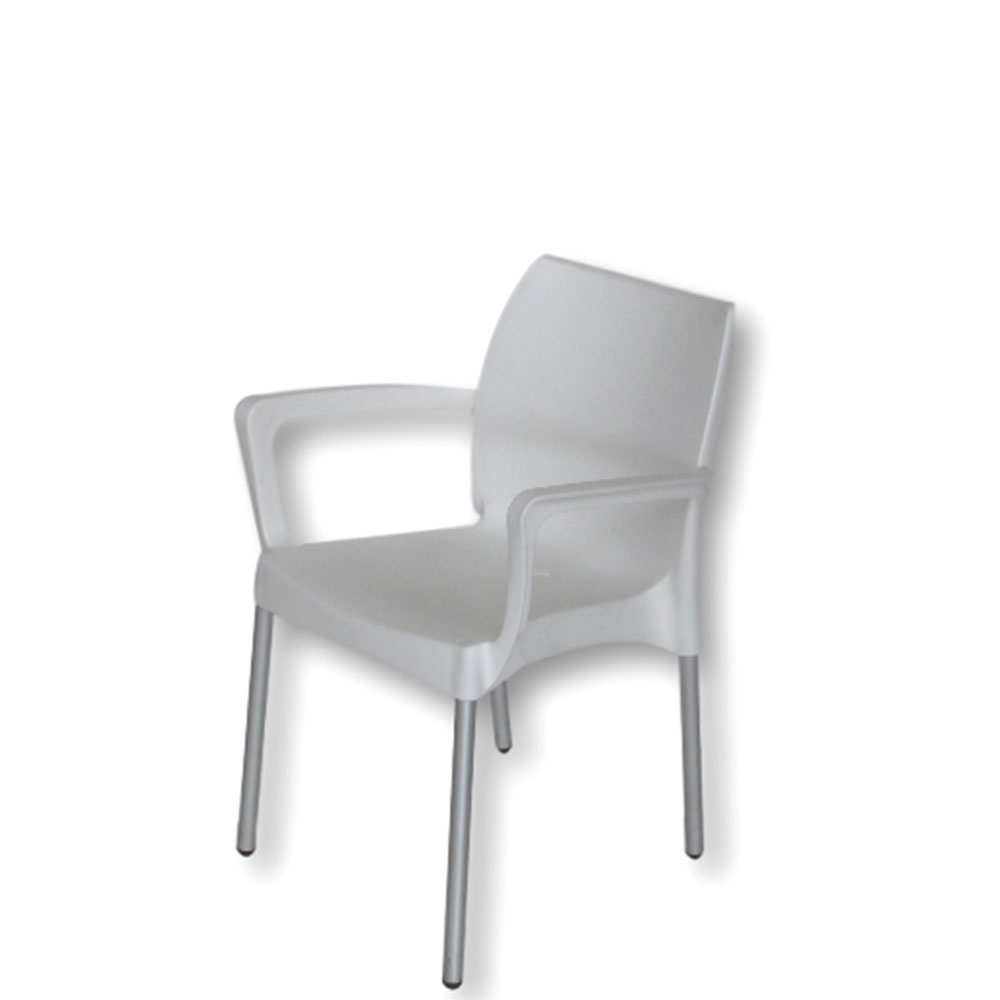 star chair  with arms  white  unik furniture hire durban  - starchairwitharmswhite